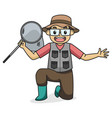 fishing at river side dad character children book vector image