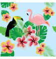 flamingos flower toucan vector image vector image