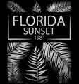 florida typography with floral for t-shirt print vector image vector image