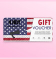 gift voucher american flag background or vector image vector image