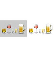 glasses with alcohol drinks beer wine whiskey vector image