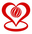 global heart icon simple style vector image vector image