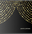 glowing gold light curtains vector image
