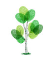 green finger print tree for nature help vector image vector image