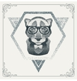 Halftone hipster Panther with black Dots vector image