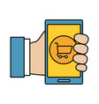 hand using smarphone with shopping cart vector image vector image