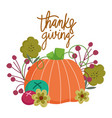 happy thanksgiving day autumn leaves pumpkin vector image vector image
