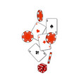 heart spade clubs diamond ace cards dice and vector image vector image