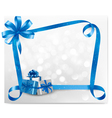 Holiday background with blue gift boxes vector image vector image