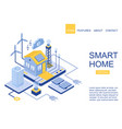 isometric scheme modern smart home green vector image vector image