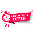 last minute offer button flat label flag vector image vector image