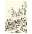 mountains village hand drawing alpine landscape vector image vector image