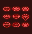 neon lips kiss sign outline purple red sex day vector image