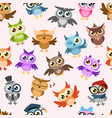 owls seamless pattern colorful cute wise owl vector image vector image