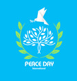peace day tree origami dove bird olive branch vect vector image vector image