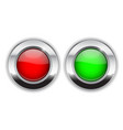 red and green round buttons glass 3d shiny icons vector image vector image