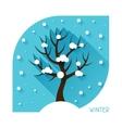 Seasonal with winter tree in flat vector image