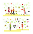 set of family people symbols icons in flat vector image vector image