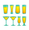 set of glass cups vector image vector image