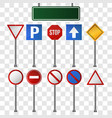 set of road signs on transparent background vector image