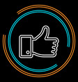 simple hand thumb up thin line icon vector image