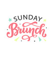 sunday brunch calligraphy logo badge vector image vector image