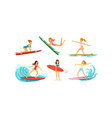 surfing girls collection female surfers in vector image vector image