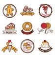 Sweet shop emblems labels set vector image