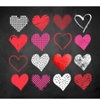 Valentine hearts on blackboard background vector image vector image