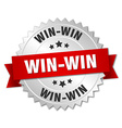 win-win 3d silver badge with red ribbon vector image vector image