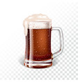 with fresh dark beer in a beer mug on transparent vector image vector image