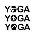 yoga text with silhouette of people vector image