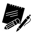notes with pen and pencil icon vector image