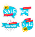 set of sale discounts and new arrivals labels vector image
