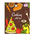 Sketch cooking card vector image