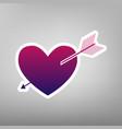 arrow heart sign purple gradient icon on vector image vector image