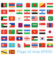asian countries flags icons set vector image vector image