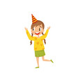 beautiful girl in party hat having fun at birthday vector image vector image