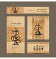 Business cards design with hookah sketch vector image