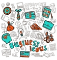 Business icons doodle sketch vector image vector image
