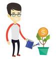 business man watering money flower vector image vector image