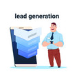 businessman sales funnel with steps stages vector image