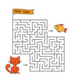 cartoon cat maze game vector image vector image