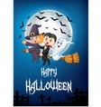 Cartoon witch riding broom with ghost and vampire vector image vector image