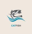 catfish and wave icon vector image vector image