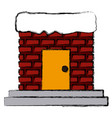 chimney with door and stairs vector image