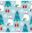 christmas seamless pattern with polar bears vector image vector image