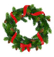 christmas wreath with red bow and ribbon vector image