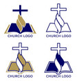 church logo set symbol christianity cross vector image vector image