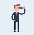 concentrated businessman looking through the vector image vector image